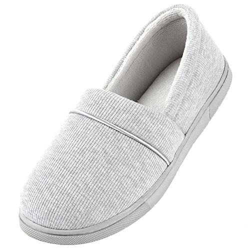 ULTRAIDEAS Women's Comfy Memory Foam Cotton Knit Slippers, Ladies' Plush Terry Lining Loafer Lightweight House Shoes with Indoor Outdoor Anti-Skid Rubber Sole Light Grey Small 5-6