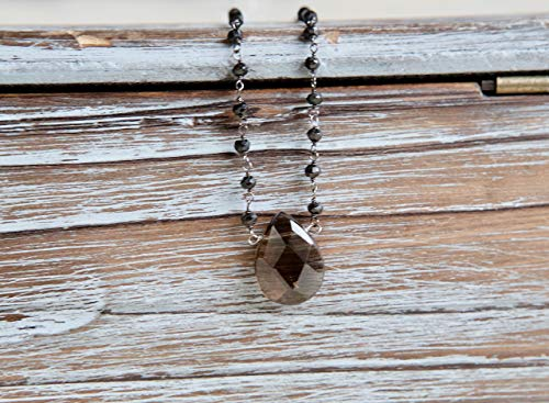 Brown Smokey Quartz Oxidized Sterling Silver - 18