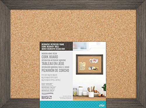 The Board Dudes 17″ X 23″ Cork Board with Decorative Distressed Wood Frame (Modern Bulletin Board)