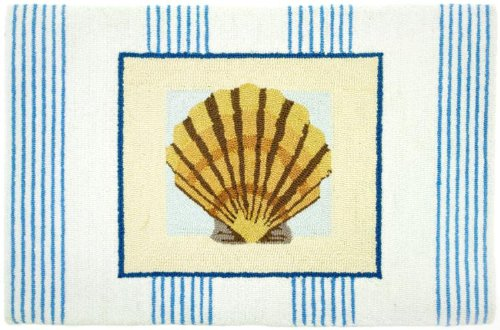 Homefires Accents Pinstripe Clam Shell Indoor Rug, 22-Inch by 34-Inch