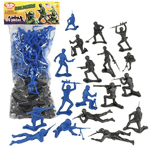 Mens Black Figure - TimMee Plastic Army Men: Black vs Blue 96pc Soldier Figures - Made in USA