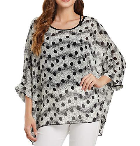 Myosotis510 Women's Chiffon Caftan Poncho Tunic Top Cover up Batwing Blouse (Z-4361) ()