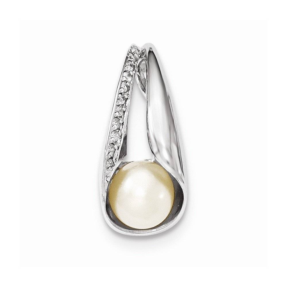 Mia Diamonds 925 Sterling Silver with Cubic-Zirconia 7-8mm FW Cultured Button Pearl Pendant CZ