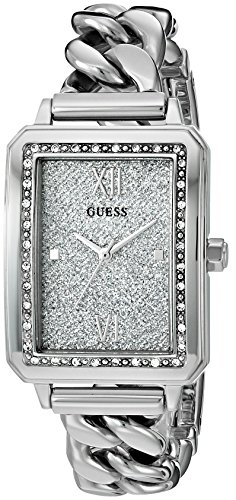 GUESS Women's U0896L1 Trendy Silver-Tone Watch with Silver Dial , Crystal-Accented Bezel and Stainless Steel G-Link Band