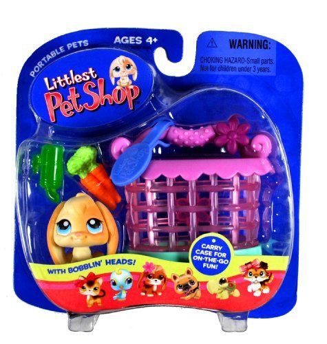 Hasbro Year 2005 Littlest Pet Shop Portable Pets Series Collectible Bobble Head Pet Figure Set - Tan Flopped Ears Bunny Rabbit with Bunch of Carrots, ID Tags, Water Bottle and Cozy Cage Carrier (51237) ()