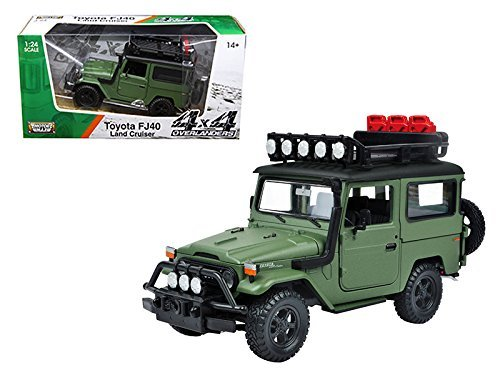 Toyota FJ40 Land Cruiser Matt Green 4x4 Overlanders Series 1/24 Model Car by Motormax StarSun Depot