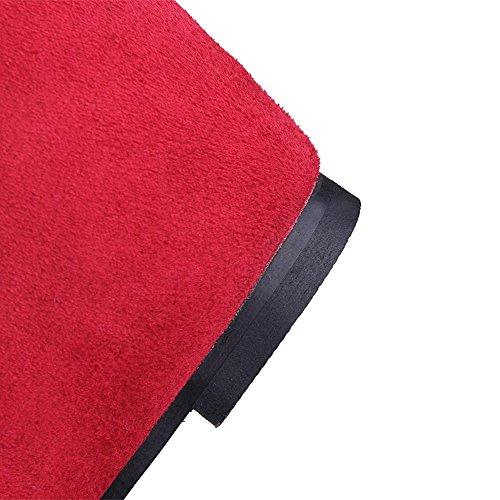 Allhqfashion Mujeres Kitten-heels Frosted Mid-top Sólido Cremallera Botas Rojo
