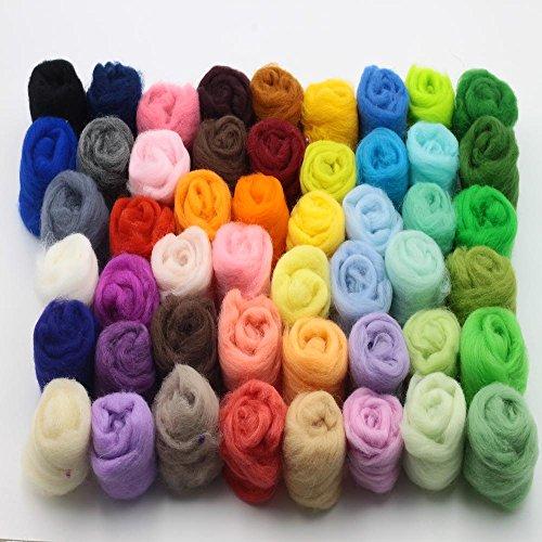 Generic Wool Fibre Roving for Needle Felting Hand Spinning DIY Fun Doll Needlework Raw Wool Baize Poke Fun 5g/bag 36pcs Mix Colors ()