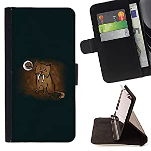 - CUTE DRAWING SABER HAMBURGER CAVE TIGE TOOTH - - Prima caja de la PU billetera de cuero con ranuras para tarjetas, efectivo desmontable correa para l Funny HouseFOR Samsung Galaxy S5 Mini, SM-G800