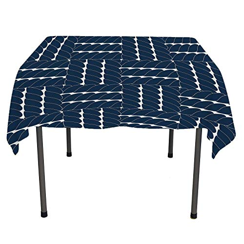Navy Blue Tablecloth Durable Rope Lattice Geometric Contrast Nautical Patterns Ethnic Motifs Sail Theme Navy Blue White All Weather Outdoor Table Cloth Spring/Summer/Party/Picnic 54 by 54 (Treated Lattice)