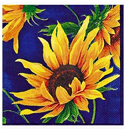 MesaFina Sunshine Blue (Sunflowers) Paper Luncheon Napkins, 40 ct
