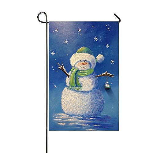 Baocnber Holiday Decor Outdoor House Flag- Starry Night Snowman Waiting For You 12.5x18 Inch Double Sided Garden Flag (Starry Snowman)