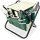 GardenHOME Folding Stool with Garden Tool Bag & 5 Gardening Tools All-in-One