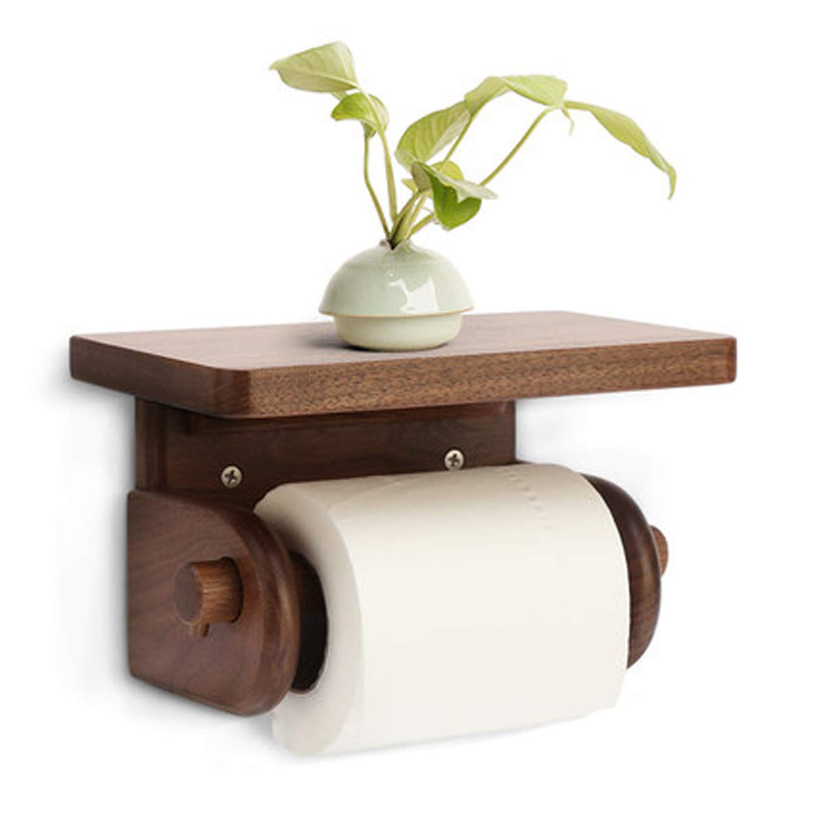 Q&F Toilet Paper Holder,Bathroom Tissue Holder With Mobile Phone Storage Shelf For Bathroom Storage,Tissue Roll Hanger-wall Mount,Punch Free-A by Q&F (Image #1)