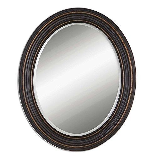 Zinc Decor Dark Oil Rubbed Bronze Beveled Oval Wall Mirror 34