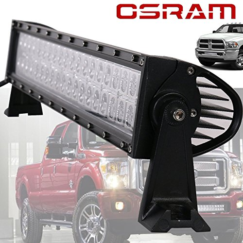 TURBO SII Osram 20 22 Inch led light bar 120w 12000LM combo beam Chevrolet Dodge Ford F150 F250 F350 GMC Jeep JK Wrangler Toyota Polaris RZR Ranger ATV UTV Can Am Maverick Boat Suv Hidden Bumper Hood (Ford Ranger Light Bar compare prices)