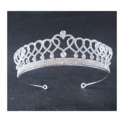 FF Princess Crowns and Tiaras Heart Shape Silver Plated Prom Queen Princess ()