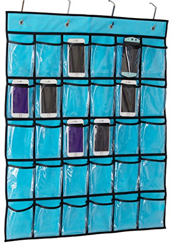 Kimbora Classroom Pocket Chart for Teacher Cell Phones Holder Door Hanging Calculator Organizer, 30 Clear Pockets