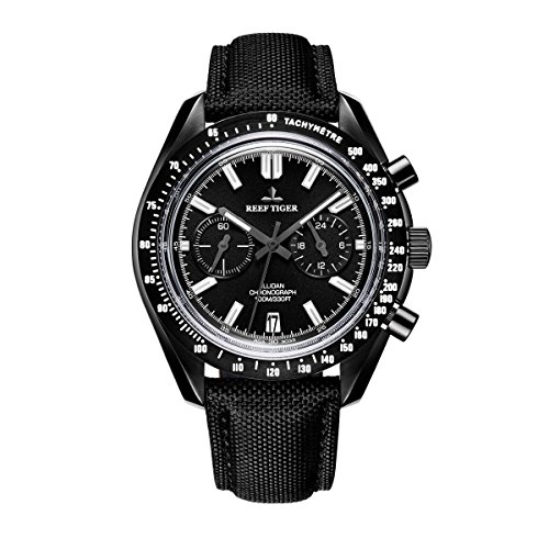 Reef Tiger Mens Sport Watch with Chronograph Nylon Strap Luminous Analog Quartz Watches RGA3033