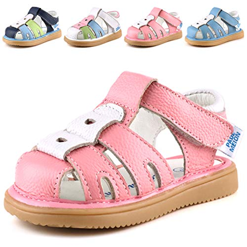 Femizee Toddler Boys Girls Leather Sandals Kids Closed Toe Outdoor Casual Fisherman Sandal,Pink,1227 CN21