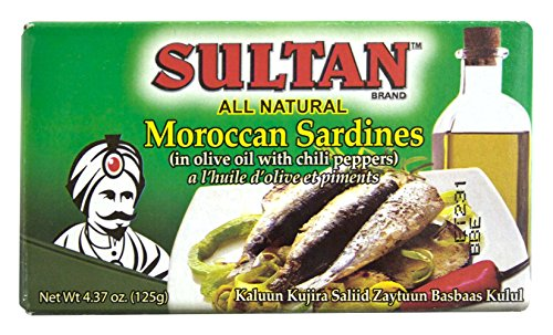 Sultan Sardines in Olive Oil, Hot, 4.37 OZ (Pack - 1) (Sultan Sardines)
