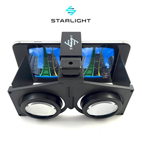 "Starlight Pocket Virtual Reality VR Headset – 3D Portable Goggles for up to 4"" - 6"" iPhone or Android Smartphones - Higher Quality Google Cardboard VR – Handheld for Use Over Eye Glasses"