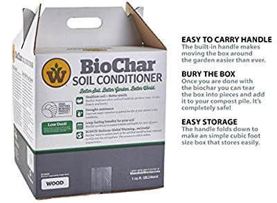 Wakefield Biochar Soil Conditioner - Premium - 1 Cu/Ft Box (7.5 Gallons) - 100% Biochar - USDA Certified