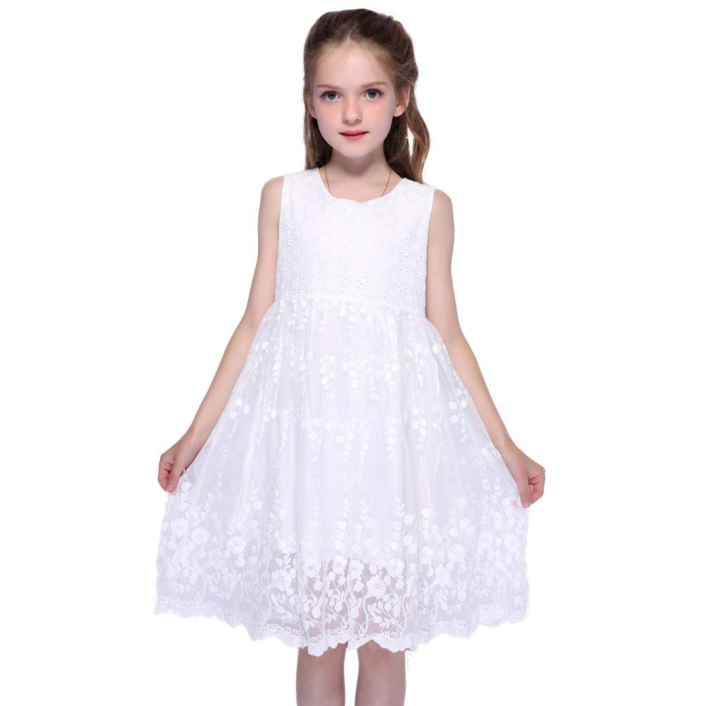 Kseniya Kids Big Little Girls White Lace Dresses Flower Cotton Girl Dress For Party And Wedding (5-6y)