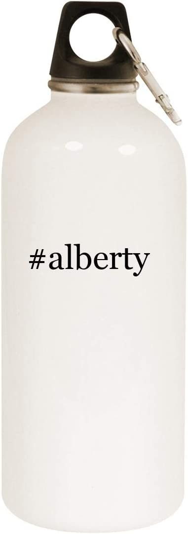 #alberty - 20oz Hashtag Stainless Steel White Water Bottle with Carabiner, White