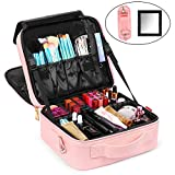 NiceEbag Makeup Bag Double-Layer Cosmetic Train Case for Women Girls Large Leather Makeup Box with Shoulder Strap, Luggage Strap, Mirror, Removable Dividers, Brush Section for Travel, Rose Gold
