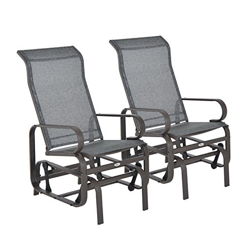Outsunny Set of 2 Outdoor Patio Glider Rocking Chair Fabric Metal Mesh – Brown