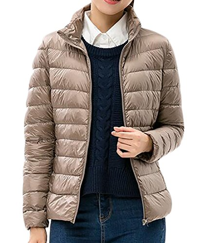 womens tan quilted coat - 5