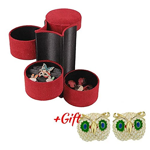 Brendacosmetic Flannel Round Multifunctional Jewelry Box ,Portable Organize Box Jewelry Case Storage Box for Travel & Home with Gift Earrings (Half Log Corner)