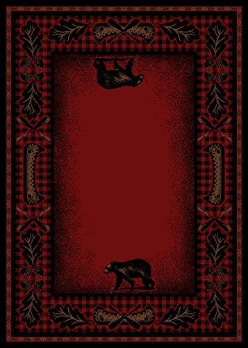 Rug Empire Rustic Lodge Cabin Bear Walk Area Rug, 5'3″x7'3″