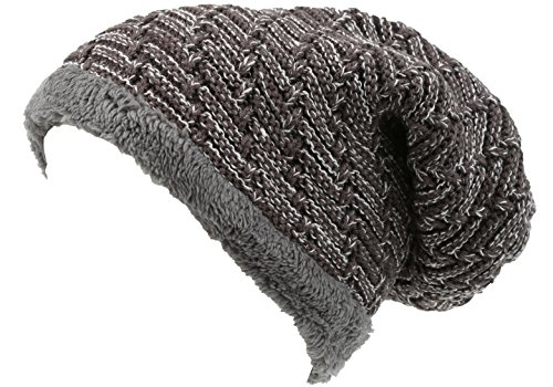 Sakkas 16142 - Veloce Tall Long Heathered Faux Fur Shearling Lined Unisex Beanie Hat - Taupe - OS