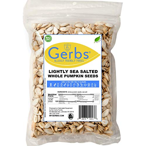 Lightly Sea Salted Pumpkin Seeds, 14oz. by Gerbs - Top 14 Food Allergy Free & Non GMO - Vegan, Keto Safe & Kosher - In-Shell Pepitas grown in USA (Flavored Pumpkin Seeds)