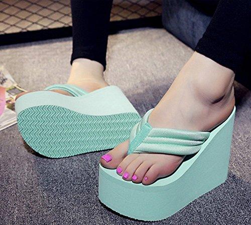Sfnld Kvinna Trendig Sommar Öppen Tå Flip Flop Rem Hög Kilklack Sandals Grön
