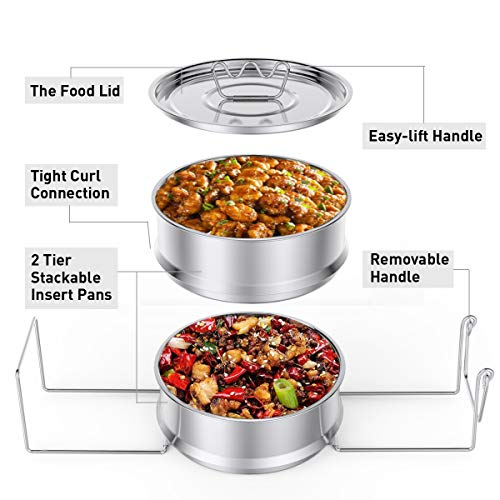 Stackable Steamer Insert Pans with Sling Handle - Premium Stainless Steel  Food Steamer, Compatible With 5/6/8 QT Pressure Cooker, Pot in Pot Cooking,