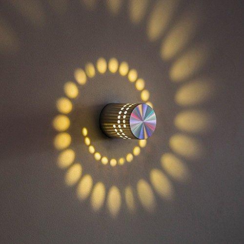 OWIKAR Spiral LED Wall Light, 3W Dimmable LED Wall Sconce Hi-Brightness Light Fixture Aluminum Sconce Ceiling Light Aisle Bedroom Vestibule Foyer Cafe Corridor Decoration Light (Warm White) by OWIKAR (Image #1)