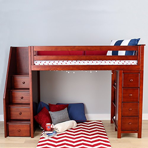 All-in-One Solid Hardwood Twin-Size Storage Loft Bed with St