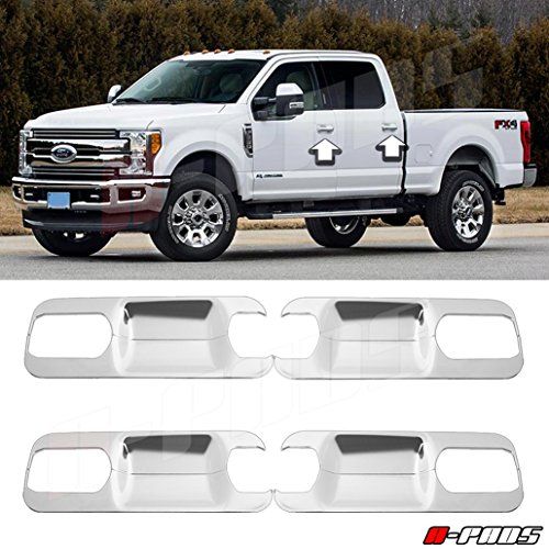 A-PADS Chrome Cover For 2017-2018 FORD F250 F350 F450 4 Door Handle Back Plates (8PCS)