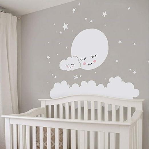 Jdhdgih Niños Luna Estrellas Pegatinas de Pared Nube Nursery ...