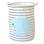 PUTING Space Saver Folding Laundry Hamper Waterproof Convergent Canvas Fabric Storage Bin Storage Basket Organizer for Bathroom Storage & Closet Home Organization, Elephant 17.7  (H) x 13.8  (Dia.) …