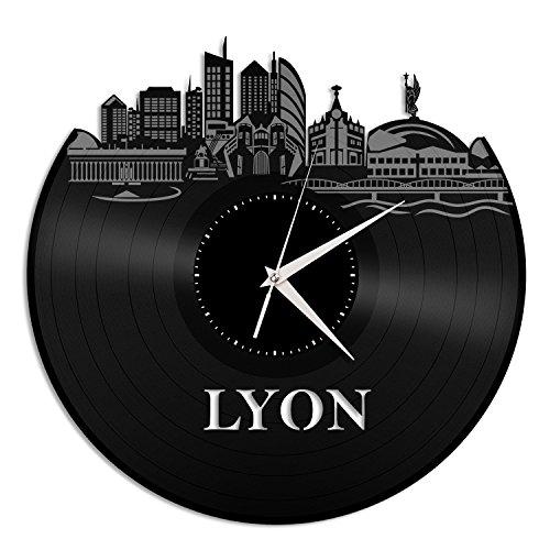 VinylShopUS - Lyon France Vinyl Wall Clock City Skyline Cityscape Vintage Office Room | Home Decoration