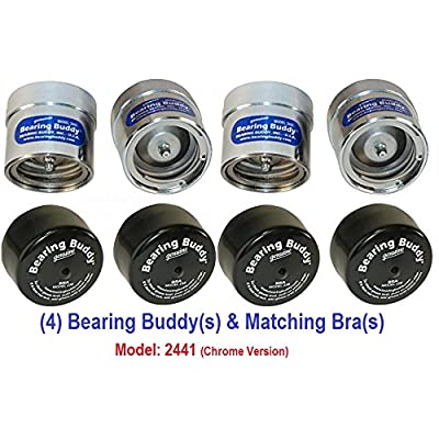 "Bearing Buddy (4) 2.441"" Chrome for Boat Trailer with Protective Bra - Wheel Center Caps 2441 (2 Pairs): Automotive"