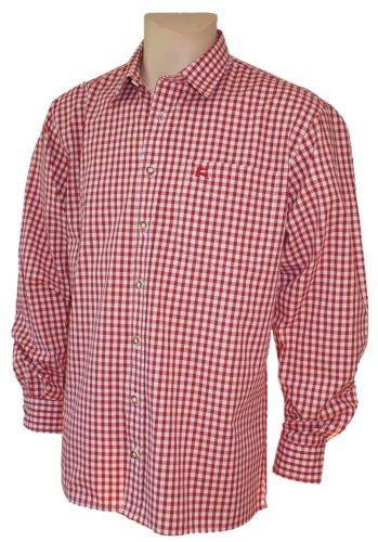 S-6XL 37-54cm Trachtenhemd Karo-Hemd Trachten-Pfoadl Karohemd rot kariert Tracht, Größe:XL = 43/44