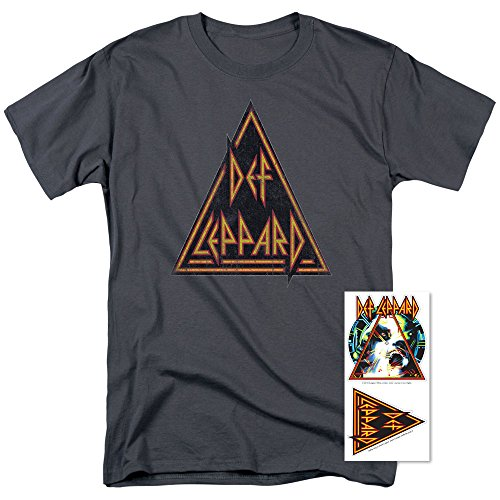 Def Leppard Logo Hysteria 80s Metal T Shirt & Exclusive Stickers (Medium) (Mens Clothes From The 80s)