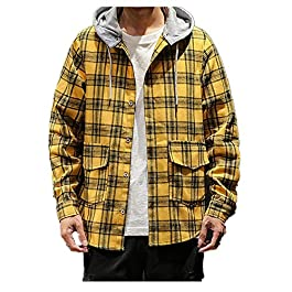 FORUU Plaid Shirts for Men,Sale New Casual Fashion Printing Loose Fit Hoodie Long Sleeve Shirt Tops Lightweight Coat