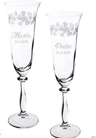 Copas para boda con corazones tallados, GRABADAS personalizadas con nombre y fecha (Sin Estuche): Amazon.es: Hogar
