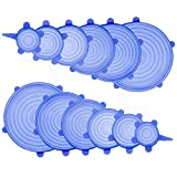 Silicone Stretch Lids Durable Reusable 12 PCS Blue Food Save Cover Heat Resisting